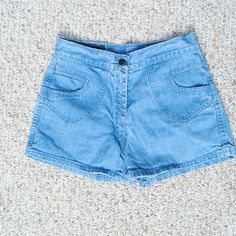 Light Blue HighWaisted Shorts Let me know if you have any questions! ✖️ Vintage Shorts Jean Shorts