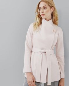 Ted Baker Ladies Pink Short Wrap Coat