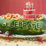 Birthday watermelon!  Great change from the traditional watermelon basket I like to carve....