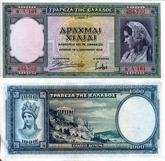 Greece Drachmae banknotes for sale. Dealer of quality collectible world banknotes, fun notes and banknote accessories serving collectors around the world. Over 5000 world banknotes for sale listed with scans and images online.