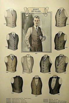 man's vest of Edwardian period. not many diffrents from today man's vest of Edwardian period. Gentleman Mode, Gentleman Style, Gentleman Fashion, Dapper Gentleman, Gilet Costume, La Mode Masculine, Fashion Catalogue, Drawing Clothes, Sharp Dressed Man