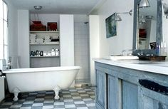 Farmhouse style bathroom with vintage vanity and clawfoot tub. The faded checkerboard tile is perfect because the contrast is softened, not as harsh as black and white. Home Renovation, Home Remodeling, Bathroom Furniture, Modern Furniture, Upstairs Bathrooms, Design Your Home, Big Houses, Industrial Chic, Modern Bathroom