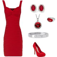 sexy red dress and accessories!! I want all this!