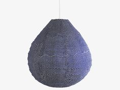 PARIS BLUES Fabric White on blue cotton pendant shade - Lighting- HabitatUK