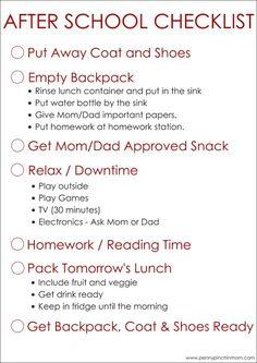 Free After School Checklist Printable #247MOMS