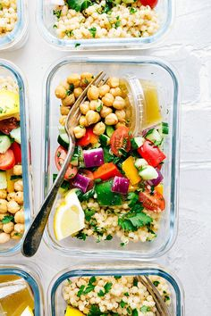 Greek Couscous Salad (Meal Prep Option) | Chelsea's Messy Apron Easy Meal Prep Lunches, Easy Healthy Meal Prep, Prepped Lunches, Easy Healthy Recipes, Vegan Recipes, Easy Meals, Cooking Recipes, Easy Cooking, Lunch Recipes