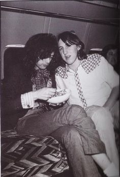 "Jimmy Page of Led Zeppelin with Cameron Crowe aboard Led Zeppelin's private jet, ""The Starship""  Jimmy Page dining ~*"