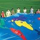 FlagHouse Earth Parachute The parachute that takes you around the world! This exciting 19'L x 13'W parachute gives participants a geography lesson while they get active. Colorful graphics include all 7 continents plus 5 oceans with targets on each, so children have a blast learning as they try to get the ball in a specific hole. Cool, but yikes it is 195 dollars!
