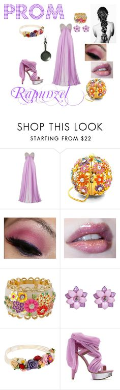 """Rapunzel"" by neverland-dreamer-821 ❤ liked on Polyvore featuring Jovani, Aspinal of London, Betsey Johnson, Tarina Tarantino, Johnny Loves Rosie, Victoria's Secret, Prom and disney"