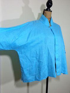 Planet Lauren Grossman jacket lagenlook top artsy art to wear turquoise Linen OS #PlanetLaurenGrossman #BasicJacket