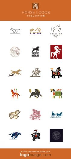 Logo Collection : Horse vector logo designs. Equine, hoof, stallion, mane, saddle, race. #logo #horses