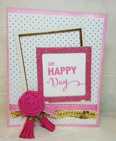 Happy Card using Honey Bee Stamps in pink & gold