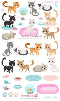 This item is now available in the Cute Animals Graphics and Patterns Bundle! Find it here: Cute Cat Clipart. Cat Character, Character Design, Cat Lover Gifts, Cat Lovers, Kittens Cutest, Cats And Kittens, Gata Marie, Cat Clipart, Diy Y Manualidades