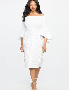 Lace Ruffle Sleeve Off the Shoulder Dress from eloquii.com