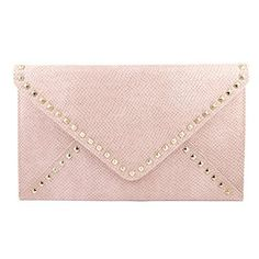 Amazon.com: Designer Inspired Diamond Shape Golden Square Rivet Studded Envelope Clutch  Valentino - Inspired Embossed Faux Leather Simple Color Magnet Closure with Chain Shoulder Strap Clutch Bag in Light Pink: Clothing $35.99