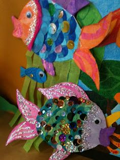 "These cute rainbow fish are a great follow-up activity after reading  the book, ""The Rainbow Fish"" by Marcus Pfister."