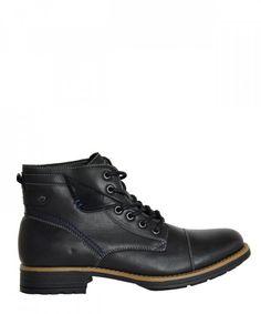 Ανδρικά μποτάκια αστραγάλου μαύρα με διχρωμία U17931  ανδρικάμποτάκια   μοδάτα  ρούχα  παπούτσια   6e892b2f17a