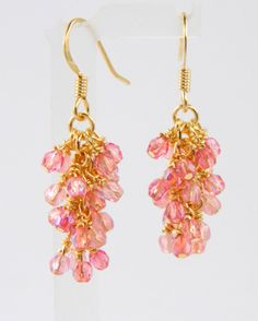 Pink and Gold Cascade Earrings with Surgical Steel Ear Wires, Blush Pink Dangle Earrings in Gold, Cotton Candy Pink, Romantic, Feminine