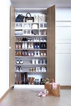 Customizable wardrobes - like the IKEA PAX system - let you add as many shoe shelves as you want in your bedroom or closet! Shoe Rack Closet, Diy Shoe Rack, Ikea Closet, Corner Storage, Ikea Storage, Storage Ideas, Ikea Pax, Ideas De Closets, Shoe Tidy