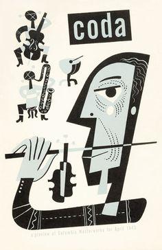 Jim Flora / Cover for Coda Magazine / April 1945 Artwork For Home, Music Artwork, Art Music, Vintage Illustration Art, Fantasy Illustration, People Illustration, Bass Logo, Jazz Poster, Music Images