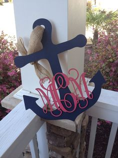 20 Anchor Monogram Door Hanger Custom Order by TheCoralAnchor