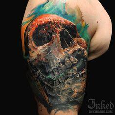Skull by Dmitry Vision #inkedmagazine #skull #tattoo #tattoos #inked