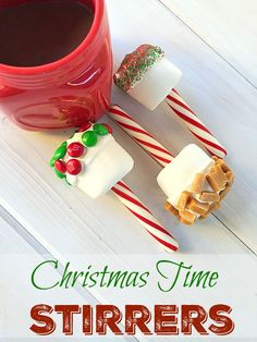 EASY to make peppermint stick stirrers. Great for hot chocolate or coffee and makes a great gift idea wrapped up.