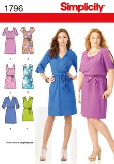 1796Misses' & Plus Size Dresses  Misses' & Plus Size pullover dresses in two lengths with bodice and sleeve variations and tie belts. Simplicity sewing pattern.