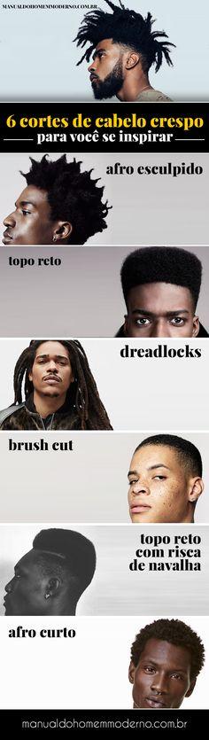 Cortes de cabelo masculino crespo para você se inspirar? afro esculpido, topo reto, dreadlocks, brush cut, topo reto com risca de navalha e afro curto.