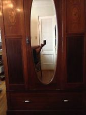 Antique English Art Nouveau Armoire Wardrobe