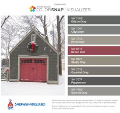 I found these colors with ColorSnap® Visualizer for iPhone by Sherwin-Williams: Grizzle Gray (SW Cityscape (SW Pavestone (SW Kirsch Red (SW Studio Clay (SW Gauntlet Gray (SW Peppercorn (SW Summit Gray (SW Exterior Color Schemes, Siding Colors, House Trim, House Roof, House Paint Exterior, Exterior House Colors, Exterior Paint Colors For House With Stone, Gray Exterior, Interior Paint Colors