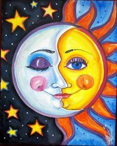 Sun & Moon - Painting with a Twist, Katy, TX Moon Painting, Painting & Drawing, Painting Inspiration, Art Inspo, Sun Art, Arte Pop, Art Plastique, Rock Art, Painted Rocks