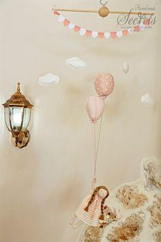Baby Mobile, Balloons, Baby Girl ,Pink Baby Mobile, Pink Balloons,  Handmade Baby Mobile, Handmade Doll, Baby Room, Nursery, Decor, Mob 106