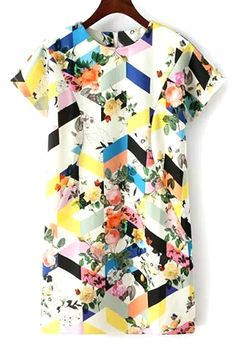 Colored Print Short Sleeve Dress