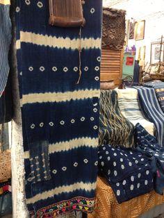 Indigo dyed shibori
