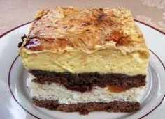 Prajitura Frantuzeasca Foi 300 gr făină, 150 gr zahăr, 150 gr margarină, 1 praf de copt, 2 linguri de cacao, 200 gr smântână. Umplutura 6 albuşuri, 250 gr zahăr, 150 gr nucă cocos. Crema 6 gălbenuş… Romanian Desserts, Romanian Food, Just Desserts, Dessert Recipes, Pastry Cake, Something Sweet, Yummy Cookies, Cakes And More, Diy Food