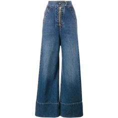 Ellery Ellery Wide Leg Denim Jeans (5.130 NOK) ❤ liked on Polyvore featuring jeans, blue, blue jeans, wide leg jeans, faux-leather jeans, fake jeans and e l l e r y