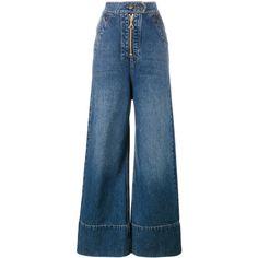 Ellery Wide Leg Denim Jeans featuring polyvore women's fashion clothing jeans pants blue wide leg jeans wide leg blue jeans e l l e r y fake jeans blue jeans