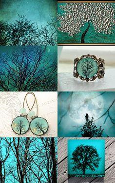 Turquoise Trees by Sharon Parolini on Etsy--Pinned with TreasuryPin.com