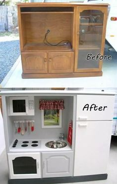 How to DIY Repurpose an Old Entertainment Center into a Play Kitchen - diy furniture entertainment center Diy Furniture Hacks, Repurposed Furniture, Furniture Makeover, Antique Furniture, Geek Furniture, Furniture Design, Furniture Websites, Furniture Dolly, City Furniture
