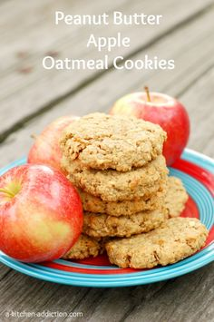 Peanut Butter Apple Oatmeal Cookies - A Kitchen Addiction