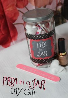 DIY Gifts are not only thoughtful but thrifty too. And it seems like everyone loves a Jar Gift these days. Check out this fun DIY Pedi in a Jar Gift, including Free Printable tags. This gift is perfect for many occasions.