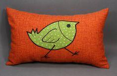 Orange Decorative Pillow with Green Bird Design made by LenkArt