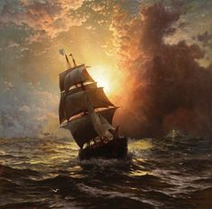 """A Clipper at Sunset"" - Edward Moran (1829 -1901) British-born, American artist of maritime paintings."