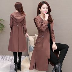 2019 New Long Sleeve High Waist Windbreaker Women Casual Hooded Thin Long Trench Coat Button Loose Coat Solid Overcoat Indian Fashion Dresses, Girls Fashion Clothes, Teen Fashion Outfits, Stylish Dress Designs, Stylish Dresses, Stylish Outfits, Mode Hijab, Coats For Women, Korean Fashion