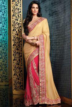 Tranquil Cream & Shocking Pink #Saree