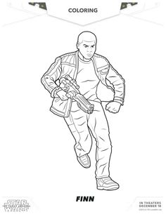 Star Wars: The Force Awakens Printable Finn Coloring Page