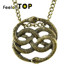 Steampunk Bronze Monogram Necklace Vivid Cute Two Lingering Snake Pendant statement necklace Maxyum For Women collier femme-in Pendant Necklaces from Jewelry & Accessories on Aliexpress.com | Alibaba Group