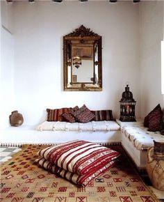 Living room design idea - Home and Garden Design Ideas Villa Maroc - Morocco - bohemian decor bohemian interiors bohemian bedroom - villa-ma. Bohemian Interior, Home Interior, Interior Decorating, Interior Design, Bohemian Decor, Bohemian Style, Bohemian Living, Boho Chic, Decorating Ideas