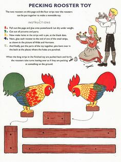 Pecking Rooster Paper Toy by shelece, via Flickr